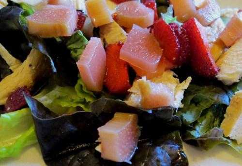 chicken, strawberry, and rhubarb salad