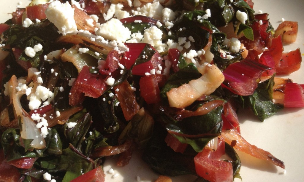 Swiss Chard Sauteed with Onion and Garlic